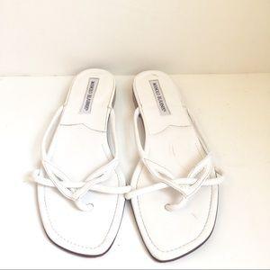 Manolo Blahnik Sandals Leather Open Toe Flat Shoes